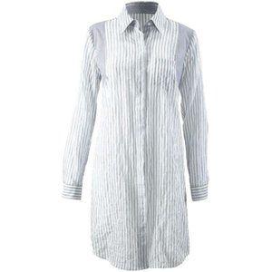 CAbi Pucker Striped Blue Long Shirt Dress | S